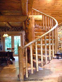 John Meilahn's Cordwood Home, spiral staircase.~ (Amazing!!)
