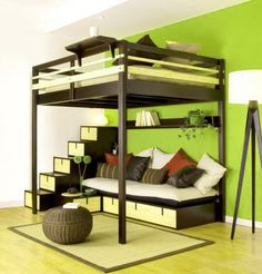 Love the brown and green colouring. From our page: http://www.cheapbedsforsale.co.uk/bed-articles-buying-tips/loft-bed-high-sleepers-guide