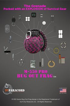 Bug Out Frag® Pro Paracord Survival Kit (Black and Pink) Urban Survival, Survival Food, Wilderness Survival, Outdoor Survival, Survival Prepping, Survival Skills, Bushcraft Skills, Survival Hacks, Surf City Paracord