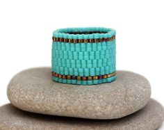 Wide turquoise ring Wide beaded ring Minimalist ring Everyday ring Turquoise beaded ring Turquoise band ring Simple band ring Unusual ring