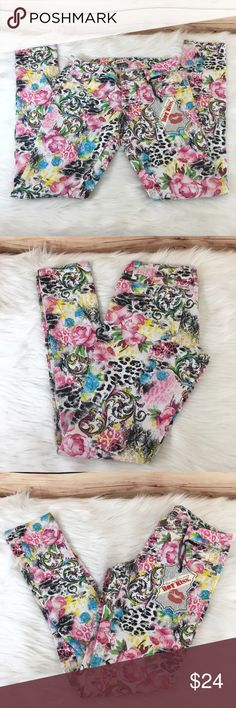 Hot Kiss whimsical print jeans size 3 (brand new) Brand: Hot Kiss Size: 3 Type: multicolored whimsical print, skinny leg style Details: see last pic for up close of print Waist measurement: 🛑 Inseam: 🛑 Condition: brand new with tags  Other: this item does not fit me, sorry I cannot model ✨Bundle discounts offered, just ask. (Jeans are weighty, so please be mindful of the 5lb max limit) Hot Kiss Jeans Skinny