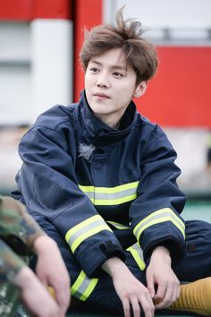 "Luhan 鹿晗 on ""Date Superstars"" // Firefighters are heroes! Plus luhan looks like a cute child in their uniform hahaha"
