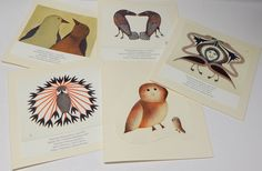 """Five Hand crafted Inuit blank Cards.  Cape Dorset Prints. 6""""x6"""", Wedding Card Stock paper (1) by MANITOUARTS on Etsy https://www.etsy.com/ca/listing/486233233/five-hand-crafted-inuit-blank-cards-cape"""