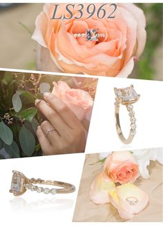 Faint Pink Morganite Engagement Ring with Stunning Diamond Shank in 14K Rose Gold by Laurie Sarah Designs
