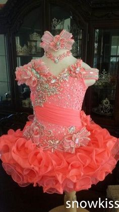 Cute mini kids glitz pageant dresses sparkly beading crystals pleated organza ball gowns with flower glamorous toddler frocks(China (Mainland)) Pagent Dresses For Kids, Toddler Pageant Dresses, Kids Flower Girl Dresses, Glitz Pageant Dresses, Little Girl Pageant Dresses, Pageant Wear, Pageant Girls, Beauty Pageant, Up Girl