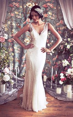 Beaded Lace Art Deco Inspired Sleeveless Bridal Gown with Bias Silk Slip f7d62e3079c2
