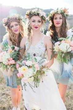 We love this winter bohemian wedding, just look at those braids and flower crowns! #BohemianWeddings