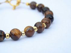 Tiger's Eye Bracelet | FREE UK DELIVERY | Semi Precious Stones | Phillipa Jane Designs | Tiger's Eye Protection | Gold Chain