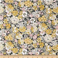 Kaufman London Calling Lawn Large Floral Grey