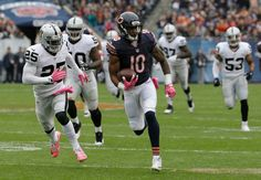 . Chicago Bears wide receiver Marquess Wilson (10) runs the ball after catching a pass during the first half of an NFL football game against the Oakland Raiders, Sunday, Oct. 4, 2015, in Chicago. (AP Photo/Nam Y. Huh)
