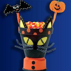 Plaid® Black Cat Clay Pot #claypot #craft #halloween