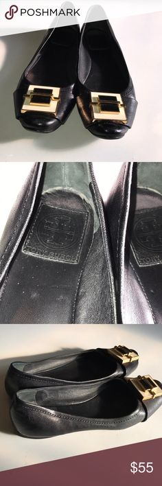 Tory Burch ballerina flats Black leather flats. Cream & black double layer lacquer square design trimmed in gold tone metal casing. Logo on insoles with color wear.  Minor wear on back & bottom  of heels. Normal wear on rubber rubbed soles. Tory Burch Shoes Flats & Loafers