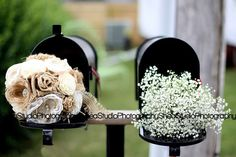 Shea Studio A perfect DIY bouquet - burlap & lace flowers for the bride and babys breath for the bridesmaids