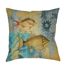 Match a nautical theme with this accent pillow's artist-driven design in shades of blue and beige. Both sides of this polyester pillow feature a pair of detailed fish on a patchwork background with stylized motifs.