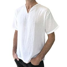 502d0baca9b3 Men s Cotton Breathable V-neck Loose Fit T-Shirts Casual Solid Color Short  Sleeve Tops