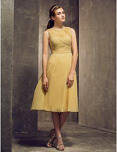 aa0c71957eed kappe   kolonne juvel te-længde chiffon brudepige kjole (710.800) - DKK kr