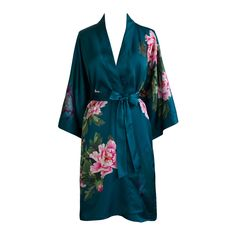 Exclusively ours, enjoy every day luxury in printed silky charmeuse robe. An ideal lounge kimono, a practical and pretty dressing gown for bride and bridal part