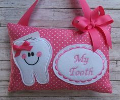Tooth Pillow, Tooth Fairy Pillow, Baby Sewing Projects, Sewing For Kids, Applique Monogram, Pink Polka Dots, Fairy Doors, Diy Pillows, Diy For Girls