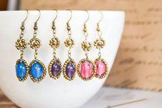 Blue purple or pink Maasai beadwork earrings by RedTribeBeadwork