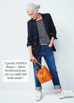 Model Sylviane wears navy blazer, striped top, relaxed jeans and white sneakers Over 60 Fashion, Mature Fashion, Older Women Fashion, Over 50 Womens Fashion, 50 Fashion, Fashion Tips For Women, Look Fashion, Fashion Outfits, Fashion Capsule