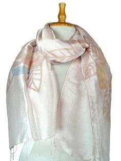 Narrow Hand Painted Silk Scarf in Pink Leaf