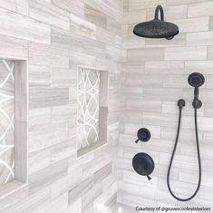 Grey Bathroom Tiles, Master Bathroom Shower, Bathroom Tile Showers, Gray Shower Tile, Master Bathrooms, Tiled Bathrooms, White Master Bathroom, Dyi Bathroom, Budget Bathroom