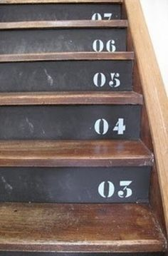 22 Great Projects Using Chalkboard Paint stairs to basement Painted Stairs, Painted Floors, Wooden Stairs, Chalk It Up, Chalk Board, Stair Risers, Chalkboard Paint, Chalkboard Ideas, Chalkboard Drawings