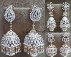 Jewellery Designs: Diamond Jhumkas Collection 18ct Gold