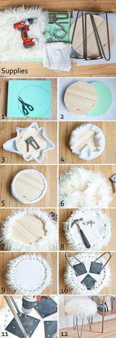 Diy Crafts Ideas : DIY faux fur stool