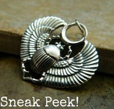 Sterling Silver Winged Scarab Pendant just in. Details at http://www.ninadesigns.com/bali_bead_shop/sterling_silver_egyptian_scarab_with_wings_charm/a1200/details
