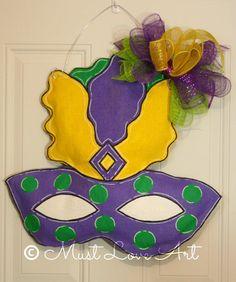 Mardi Gras Mask Burlap Door Hanger Decoration by MustLoveArtStudio,  @Katie Bohannon @Ashley Besco @Amy Abendschein