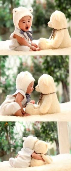 Someone give me an Asian baby in a teddy bear suit and a stuffed teddy bear. Now.