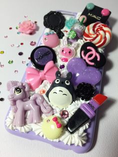 iPhone 6 decoden case -- hand made with ♥ from My Deco Den #decoden #dekoden #whipped #cream #iphone #case #iphonecase #FairyKei #Rilakkuma #cute #kawaii #MAC #pony #lollipop #polymerclay #totoro #AnnaSui #Chanel