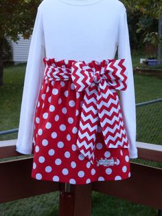 Buy Any 2 Skirts and Get 1 FREE, Red Polka Dot Paper Bag Skirt with Chevron Belt, Size 2, 3, 4, 5, 6, 7, 8, 9, 10, and 12 on Etsy, $32.17 AUD