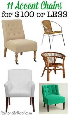 Great chairs at affordable prices! Lots of different kinds - one is bound to work for your style! Accent Chairs for $100 or Less