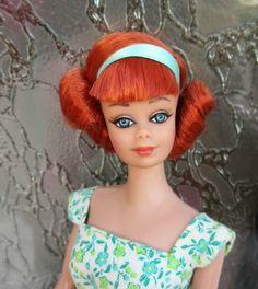 Ooak vintage ponytail sidepart Barbie Midge rerooting repaint service by Lolaxs