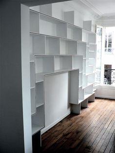 Meubles d'O. // Mobilier sur mesure // Travail sur le bois, la laque et le métal http://www.meublesdo.com/html/meubles-en-situation/bibliotheque-soleil-levant.html