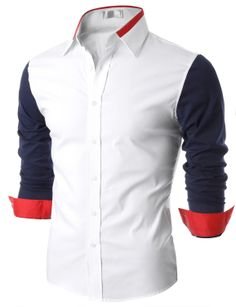 Doublju Mens Contrast Long Sleeve Button Down Shirt (KMTSTL0162) #doublju