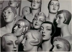 Arrangement of 12 Female Mannequin Heads, Each with Distinct Physiognomy and Period Hair Style, Peter Weller 1920-30s
