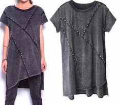 Rivet Fashion tops Women ropa mujer camiseta feminina roupas femininas Punk tshirt Long women shirts Women's Clothing Clothes