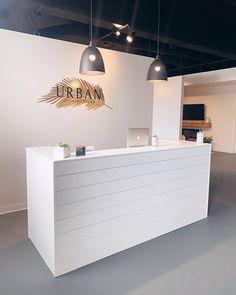 White Reception Desk, Salon Reception Area, Reception Desk Design, Beauty Salon Reception Ideas, Spa Reception, Reception Desks, Hair Salon Interior, Salon Interior Design, Design Salon