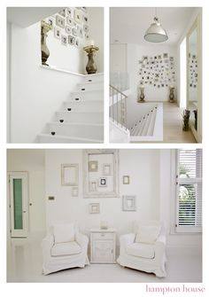 The spaced little pots on the stairs the collection of odd shaped frames and the large mirror. ..