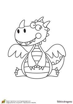 Coloriage pour enfants, dessin de petit dragon souriant