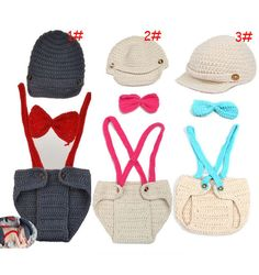 3 Colors Handmade Crochet Knitted Boys Beanies Hat Tie and Suspender Trousers Newborn Photography Props Little Gentleman Set