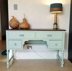 Fusion Mineral Paint in Inglenno for this second hand vintage desk makeover by the lovely Svetlana who styled it all so well with those pears and that lamp