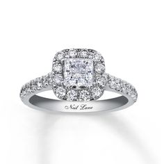 Brides.com: Engagement Rings with Pavé Settings. Style 990643607, princess-cut 1.5ct diamond engagement ring in 14k white gold, $5,899, Neil Lane for Kay Jewelers  See more Kay Jewelers engagement rings.