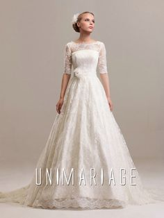 Lace Wedding Dresses With Sleeves 2014. Boat neck sheer fabric can emphasize your charming clavicle.