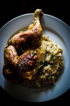 // Roasted Chicken with Cauliflower Mash