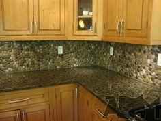 river rock backsplashes for kitchens | River Pebble Tile Kitchen Backsplash - A DIY Project Anyone Can Do