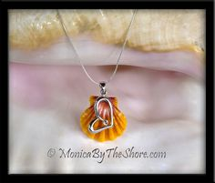 Hawaiian Sunrise Shell, Sterling Silver Heart & Swarovski Crystal Pendant Necklace